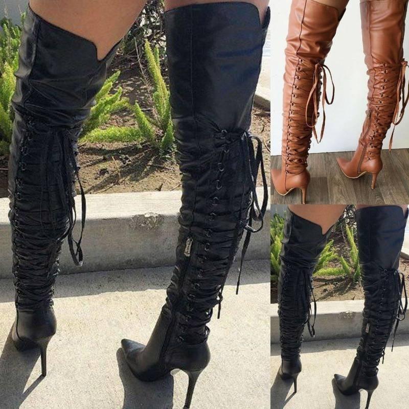 Botas por encima de la rodilla a la moda para mujer, botas de tacón alto, botas hasta el muslo, botas con cordones Botas Largas puntiagudas, botas ajustadas altas para mujer