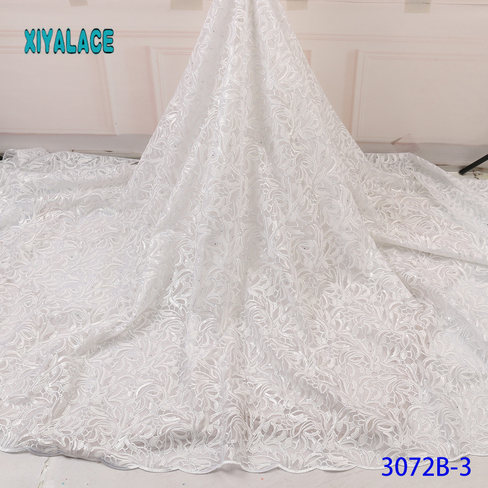 Luxury Pure White Black African Mesh Lace Fabrics 2019 High Quality Nigerian French Tulle Lace Net Lace  Fabric YA3072B-3