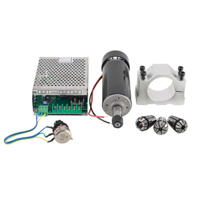 500W Air Cooled Spindle Er11 Cnc Spindle Motor Kit + Adjustable Power Supply 52Mm Clamps Er11 Collet Chuck