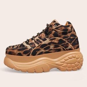 Image 5 - Женские кроссовки на платформе с леопардовым принтом, сезон весна осень, модная женская повседневная обувь на массивной подошве из лайкры для девочек, спортивная обувь на толстой подошве, 2020
