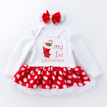 Little Baby Girl Christmas Rompers Dress and Headband Baby Clothing Mini Tutu Kids Long sleeve Dresses for Girls Rompers Clothes newborn baby girl costumes kids rompers elsa princess long sleeve tutu dress 2pcs set girls baby clothes free shipping rd126l