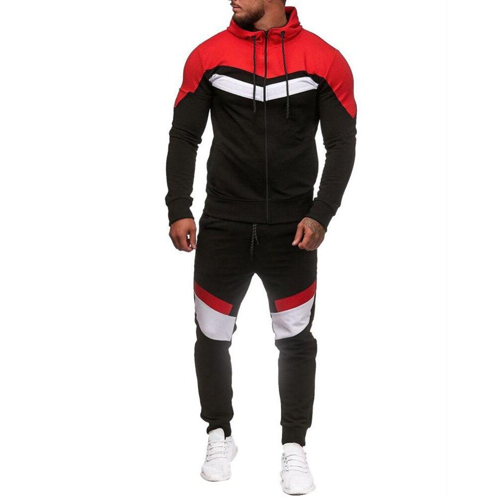 Adisputent 2020 Men Tracksuits Men's Sports Suit Spring Matching Sportwears Men Hoodie Sports Zip Drawstring Fitness Coat Sets