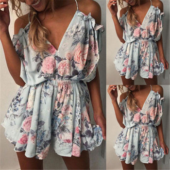 Floral off shoulder sexy rompers Women's jumpsuit high waist summer beach playsuit 2018 boho style casual strap chiffon overalls grey casual velvet off shoulder drawstring waist jumpsuit