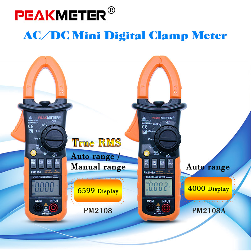 <font><b>PM2108A</b></font>/PM2108 True rms Auto range Multimeter Clamp meter Digital Resistance DC AC Voltage Current meter image