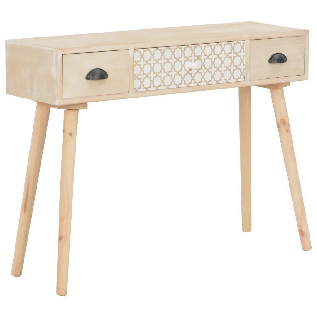 VidaXL Console Table With 3 Drawers 100 X 30 X 73cm Solid Pinewood 247386