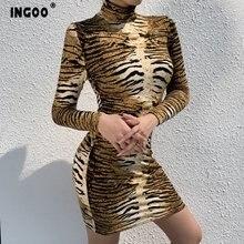 Женское леопардовое облегающее платье карандаш с длинным рукавом