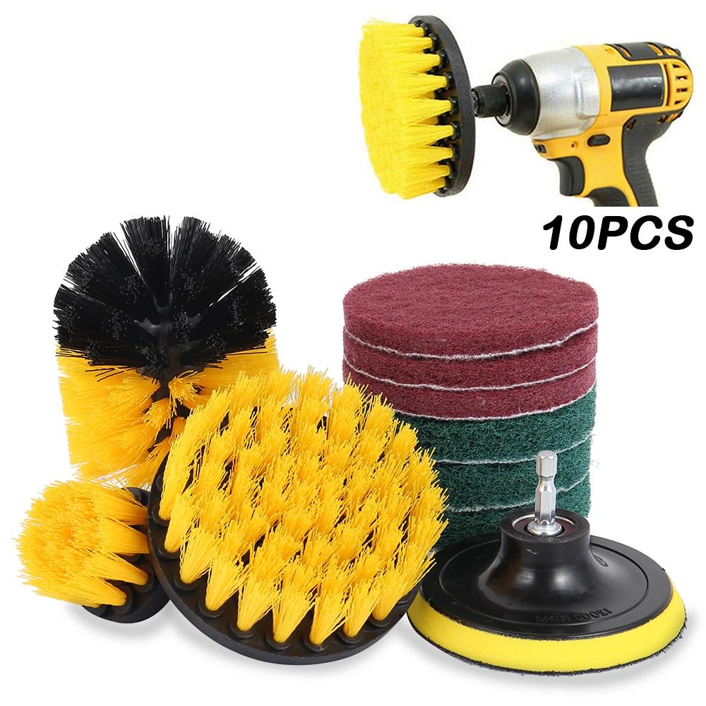 10/13pcs Electric Drill Brush Scrub Pads Kit Power Scrubber Cleaning Kit Cleaning Brush Scouring Pad For Carpet Glass Car Clean