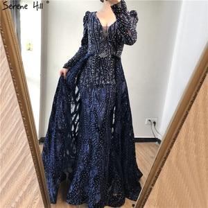 Image 3 - Dubai Blue Deep V Crystal Sexy Evening Dresses 2020 Long Sleeves Luxury Mermaid Evening Gowns Serene Hill Plus Size LA70223