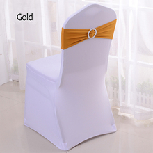 50Pcs/Lot Elastic Lycra Stretch Bow Spandex Chair Bands Chair Sashes Wedding Chair Knot Cover For Universal Banquet Chair