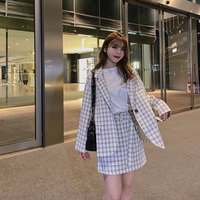Fashion Plaid Skirt Suits Women Sets Two Pieces Loose Casual Split Back Blazer Jackets &High Waist Mini Skirt With Sashes Female