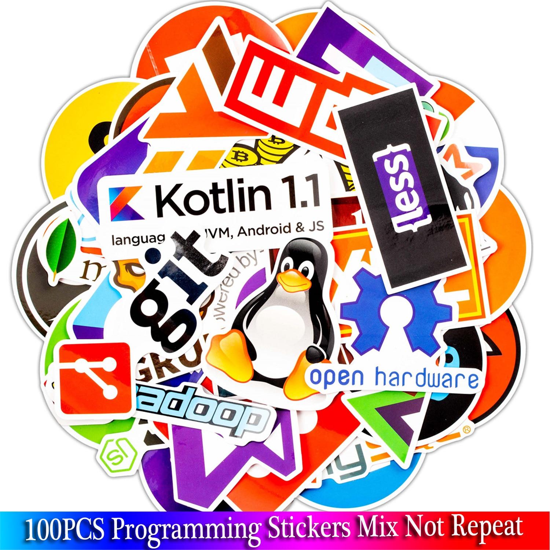 100 pcs java internet js php docker bitcoin html nuvem linguagem de programação app logotipo engraçado adesivos para computador portátil carro diy adesivos
