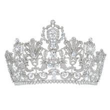 رائع الكلاسيكية زركون الزفاف 2/3 جولة لوكسمبورغ تاج تيارا الإكليل المرأة الشعر مجوهرات اكسسوارات HG026