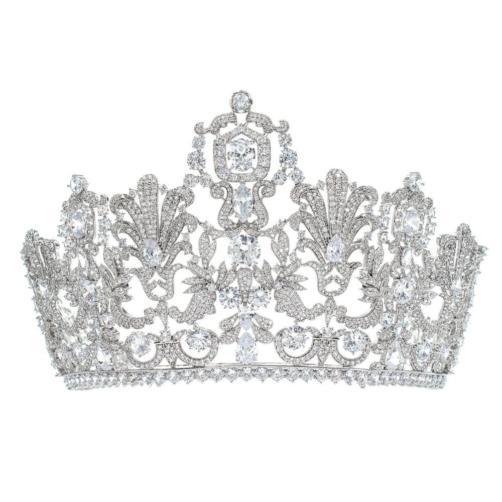 Takı ve Aksesuarları'ten Saç Takısı'de Muhteşem Klasik Kübik Zirkonya Düğün Gelin 2/3 Yuvarlak Lüksemburg tiara taç Diadem Kadınlar için Saç Takı Aksesuarları HG026'da  Grup 1