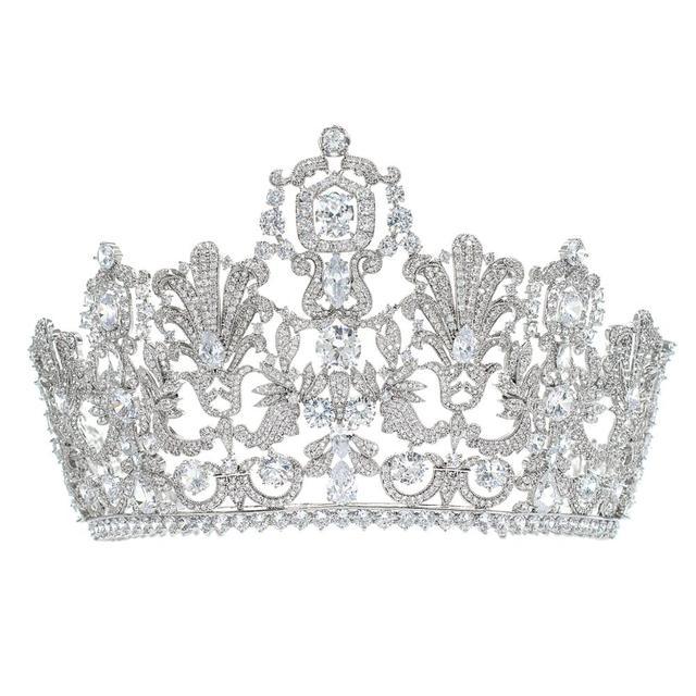 Muhteşem Klasik Kübik Zirkonya Düğün Gelin 2/3 Yuvarlak Lüksemburg tiara taç Diadem Kadınlar için Saç Takı Aksesuarları HG026