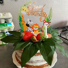 1pc Happy Birthday Jungle Animal Cake Topper Birthday Party Decorations Kids Cupcake Toppers Jungle party 1st Birthday Supplies