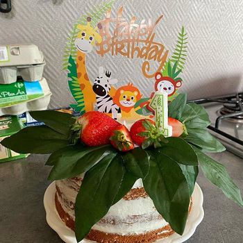 1pc Happy Birthday Jungle Animal Cake Topper Birthday Party Decorations Kids Cupcake Toppers Jungle party 1st Birthday Supplies stitch animal birthday cake topper kids toys boys baby children birthday party small gifts decoration party cupcake toppers