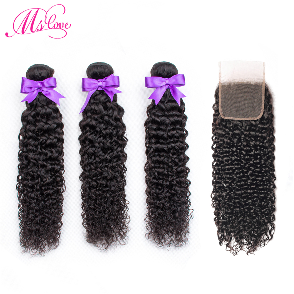 Kinky Curly Bundles With Closure Non Remy Peruvian Hair Bundles With Closure 3 Human Hair Bundle With Lace Closure Ms Love Hair