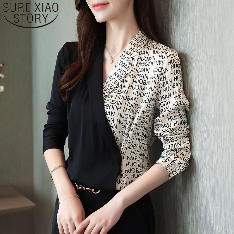 Autumn women tops 2019 ladies tops chiffon   blouse     shirts   for women long sleeve V-neck button letter blusas clothes women 6088 50