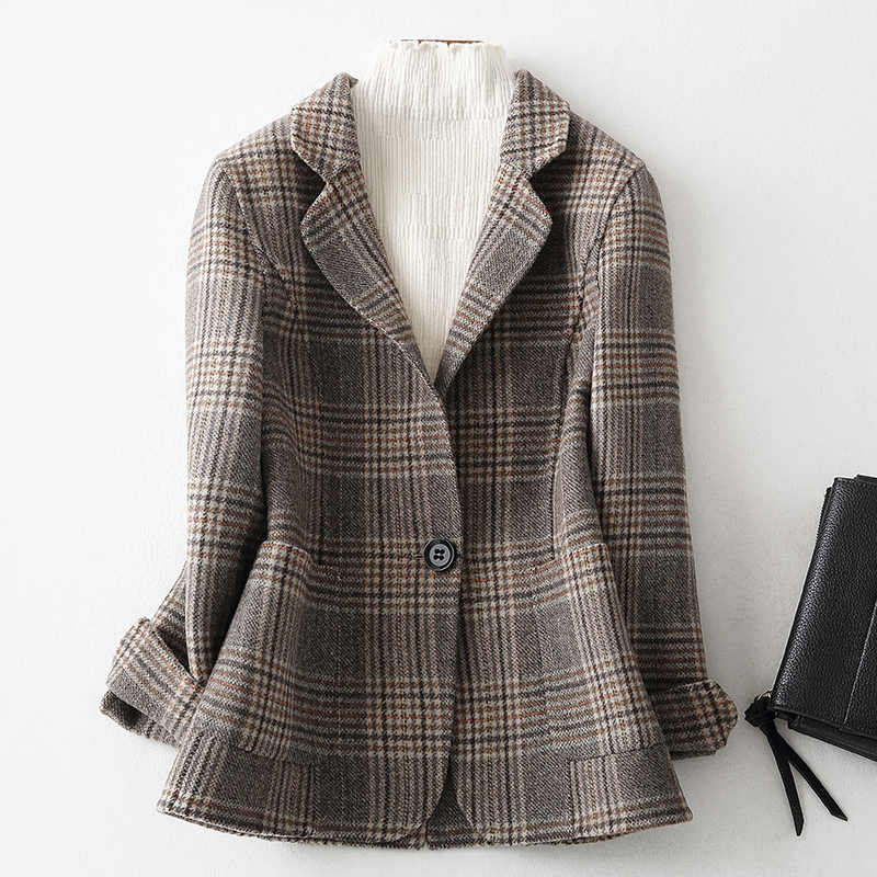 YOLANFAIRY Double Sided Cashmere Coat Ladies Autumn Winter Warm Wool Jacket for Women Top Quality Short Plaid Jacket Ydf48 MF643
