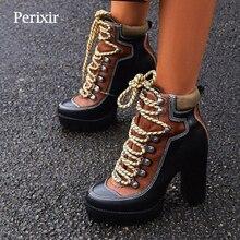 Сезон весна-осень; Новые Модные ботильоны на платформе; женские ботинки на платформе с толстым каблуком 12 см; Женские рабочие ботинки; обувь черного и коричневого цвета
