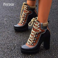 2019 Spring Autumn New Fashion Platform Ankle Boots Women 12cm Thick Heel Platform Boots Ladies Worker Boots Black Brown Shoes