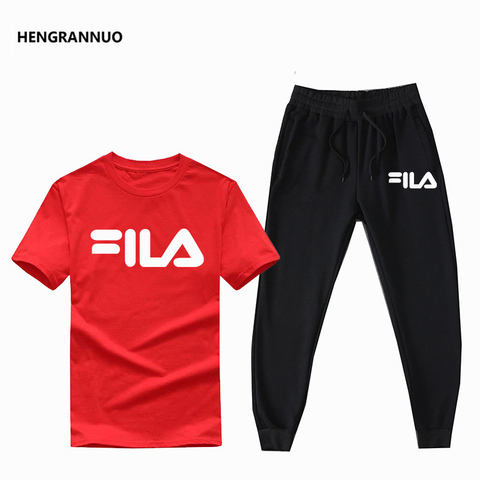 Summer Men Sets T- Shirts+pants Two Pieces Sets Casual Tracksuit Male T-shirt Gyms Fitness  Jogging trouser sports men sets 2019 Lahore