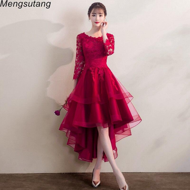 Robe De Soiree Full Sleeve Burgundy Red Elegant Formal Evening Dress Lace Appliques  Short Front Long Back Prom Party Dresses