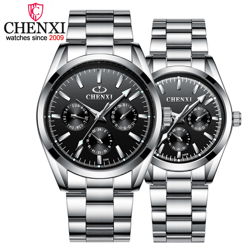 CHENXI Brand Luxury Quartz WristWatch 3 Small Decoration Dial Lover Couple Watches Silver Stainless Steel Men And Women Watches