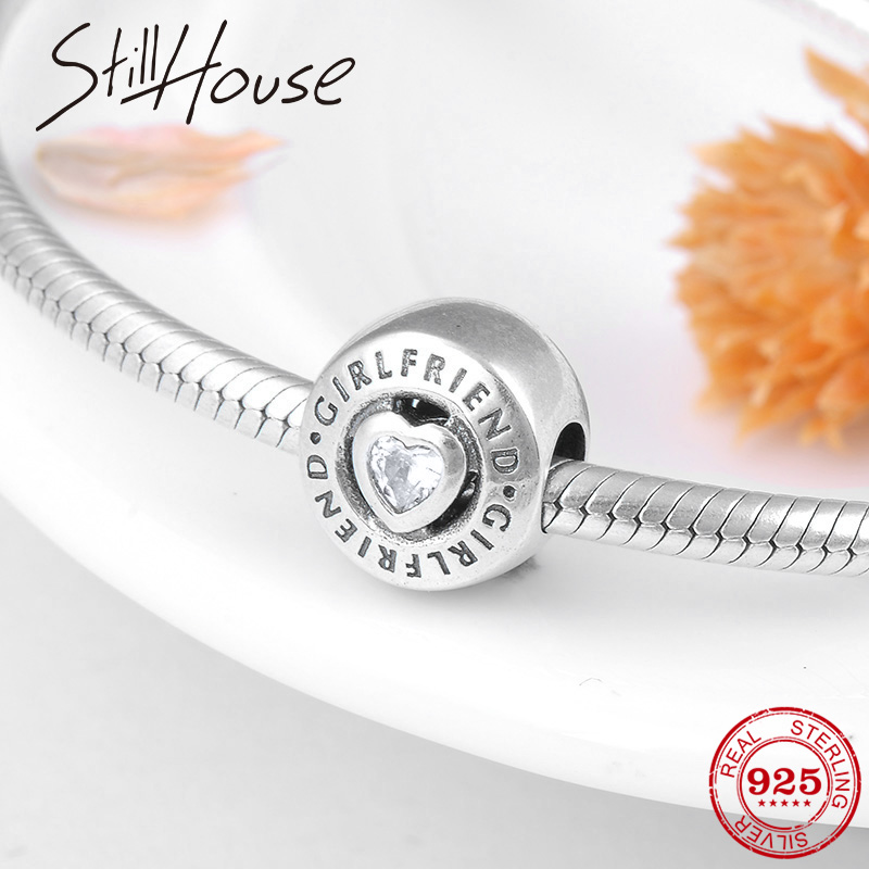 Valentine's Day Gift Girlfriend Crystal CZ 925 Sterling Silver Round Beads Fit Original Pandora Charm Bracelets Bangles Jewelry