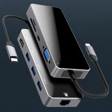 цена на Type-C to USB 3.0 HDMI Micro-SD TF Card Reader VGA Adapter Splitter Dock Hub for MacBook Pro 8 in 1 Type C USB C Hub