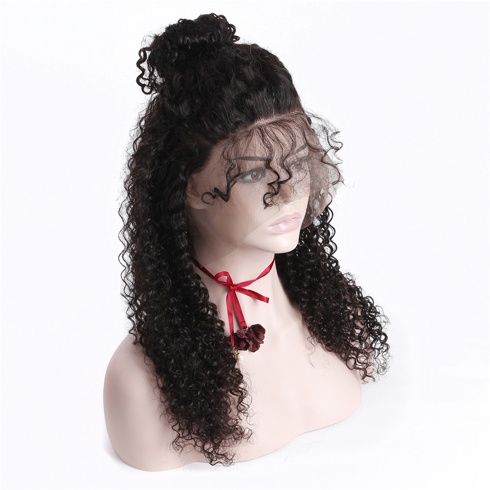 360 Lace Frontal Wig Pre Plucked With Baby Hair Malaysian Curly Human Hair Wigs For Women Natural Color 150% Density Remy Hair