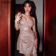 Сексуальные вечерние платья WannaThis с открытой спиной Асимметричные оборки на тонких бретельках с V-образным вырезом женское тонкое мини-плат...