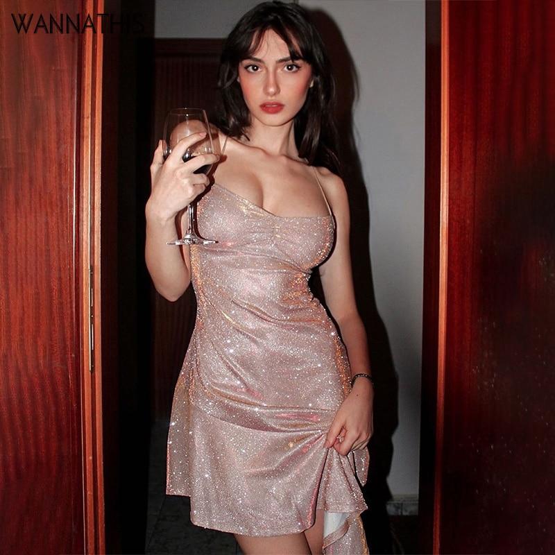 WannaThis Sexy Party Dresses Backless Asymmetry Ruffles Hem Spaghetti Strap V-Neck Women Slim Sleeveless Back lace up Mini Dress