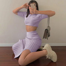 Knitted 2 Piece Outfits For Women Short Sleeve Crop Tops and Y2k Split Skirt Ribbed Tracksuit Purple Two Piece Set Jogging Femme(China)