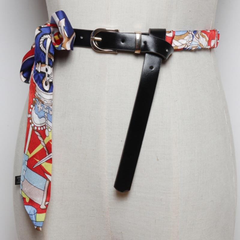 LANMREM 2020 Fashion Women's New Wild Retro Silk Scarf Bow Belt With Dress Skirt With Temperament Girdle PC227