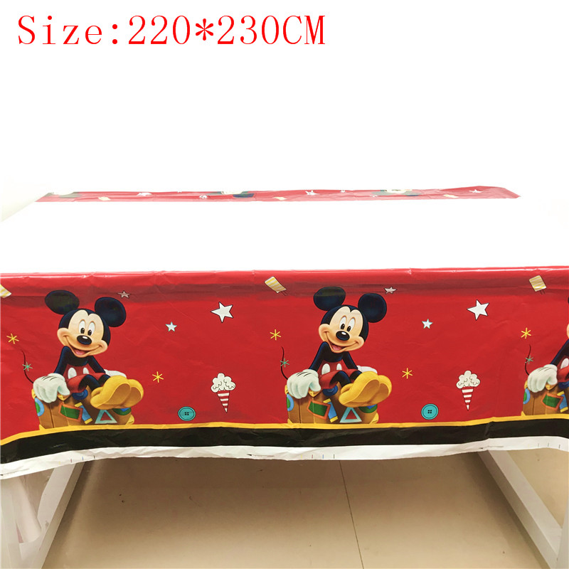 1Pcs Disney Red Mickey Mouse 220*230cm Kids Birthday Party Disposable Tablecover Baby Shower Mickey Mouse Tablecloth Supplies