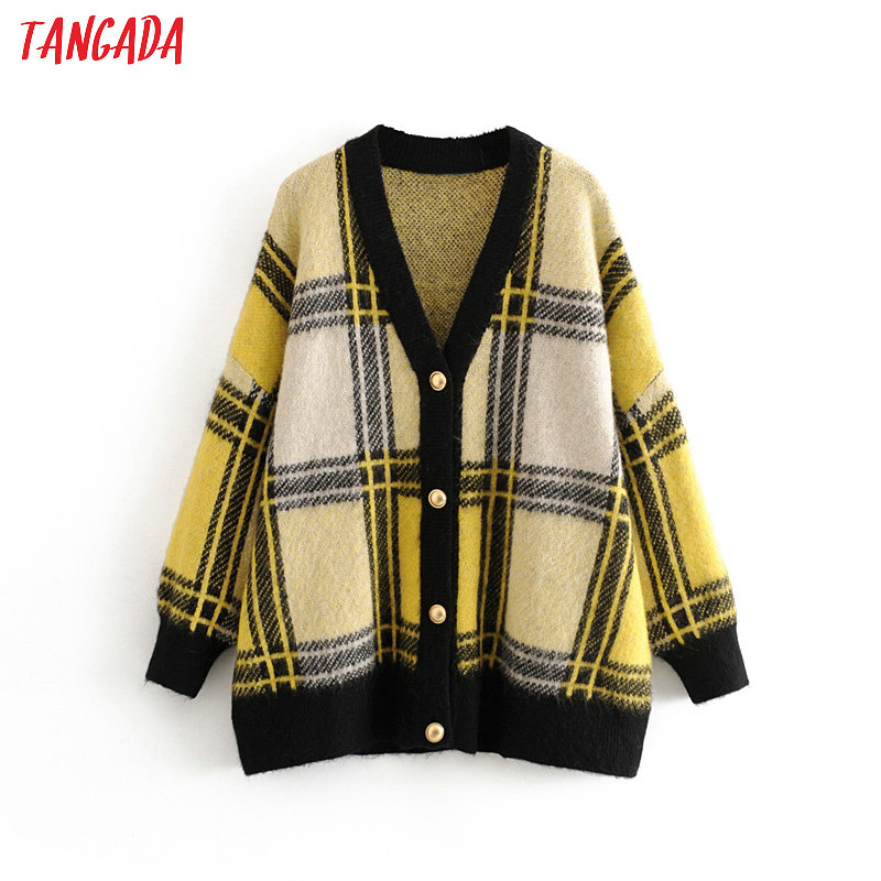 Tangada Women Elegant Plaid Pattern Cardigan Vintage Jumper Lady Fashion Oversized Knitted Cardigan Coat 3H235