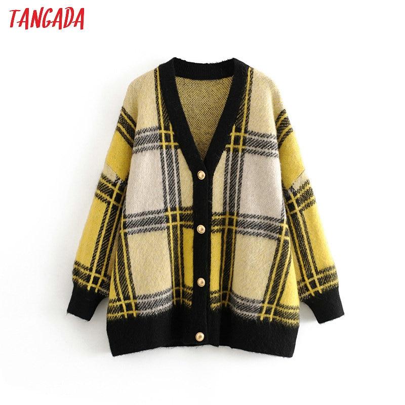 Tangada Women Elegant Plaid Pattern Cardigan Vintage Jumper Lady Fashion Oversized Knitted Cardigan Coat 3H235