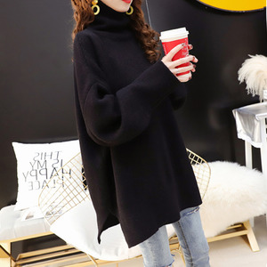 Image 2 - CHICEVER Korean Knitted Sweater Women Turtleneck Lantern Long Sleeve Oversize Pullover Sweaters Female 2020 Autumn Fashion New