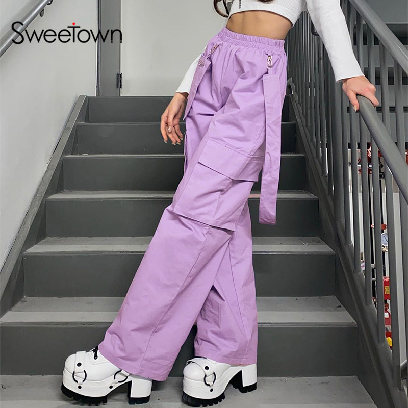 Sweetown Purple Solid Baggy Straight Pants Women Cargo Pants Streetwear Casual Loose Elastic High Waist Hip Hop Trousers Cotton