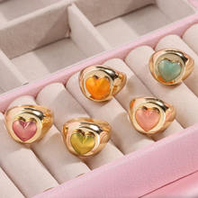 Gorący sprzedawanie moda złoty kolor metalowe serce pierścienie minimalizm geometryczne pierścienie dla kobiet dziewczyn biżuteria ślubna Party prezent