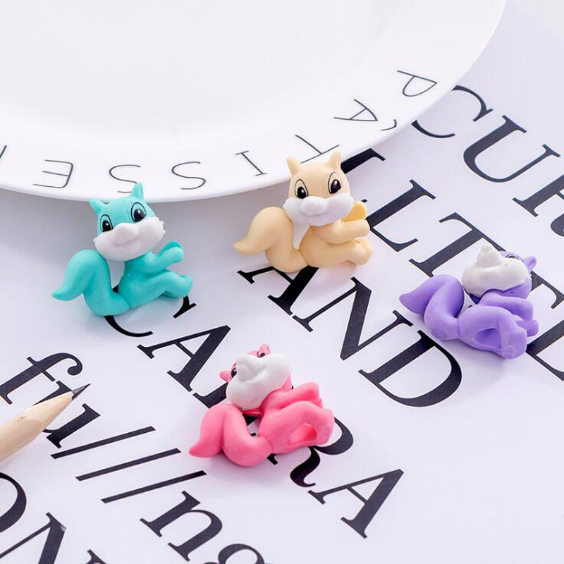 Squirrel Pencil Eraser Kawaii Squirrel Eraser Cartoon Style Creative For Kids Funny Erasers Korean Stationery School Supplies
