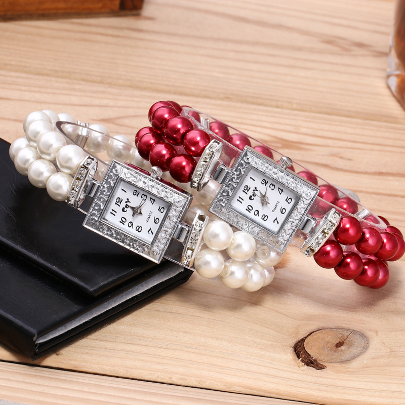 Pearl Bracelet Hand Catenary Ladies Watch Women Watches The Clock Luxury Red Pink Blue White Noble Gift For Lady  Party