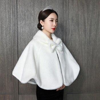 1 Uds. Otoño e invierno nuevo arco piel falsa capa nupcial capa para pelo vestido de novia Cheongsam abrigo