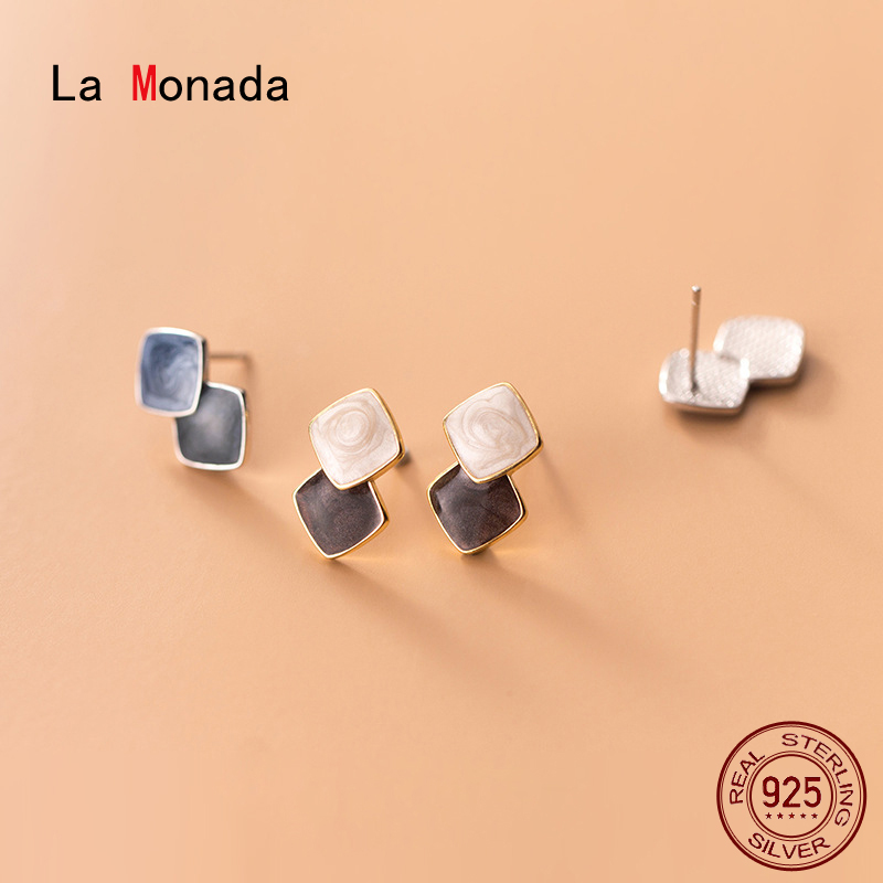 La Monada Blooming Contrast Geometry Minimalist Women Earrings Silver 925 Stud Fine Jewelry Silver 925 Stud Earrings For Women