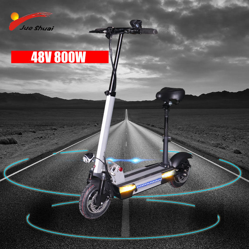 48V 800W lithium battery electric scooter max speed 45km/h 10 inch folding electric scooter with seat electric bicycle