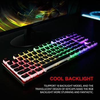 RedThunder Mechanical Gaming Keyboard with PBT Pudding Keycaps, 89 Keys RGB Backlit Wired Keyboards with Blue Switches for PC 3