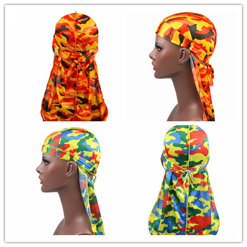 1PC Print Men's Silky Durags Turban Valentines Gift Headband Fashion Camo Free Size Headwear Elastic Comfortable Soft Adjustable
