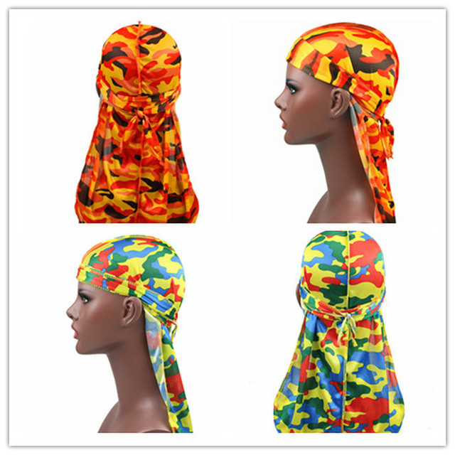 1PC Print Men's Silky Durags Turban Valentines Gift Headband Fashion Camo Free Size Headwear Elastic Comfortable Soft Adjustable