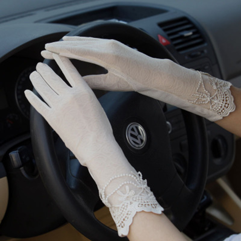 Sunscreen Gloves Non-slip Lace Ice Silk Gloves Sexy Female Thin Section Summer UV Touch Screen Driving Long Gloves 03K